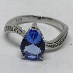 Tanzanite Stamped 925 Silver Ring w/CZ